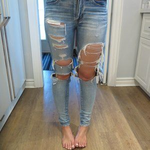 American Eagle Distressed Ripped Skinny Jeans